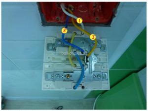 Подключение розетки anam. 1 - фазовый провод, 2 - нулевой, 3 - заземление.