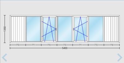 Остекление балкона или лоджии окнами ПВХ длиной 5400 мм в доме 141-й серии.