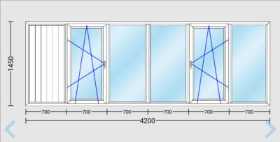 Остекление балкона или лоджии окнами ПВХ длиной 4200 мм в доме 97-й серии.