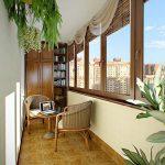 Модель теплого балкона с растениями