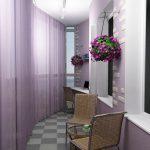 Дизайн балкона в сиреневых цветах. Модель