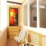 3-д модель балкона с креслами и столиком